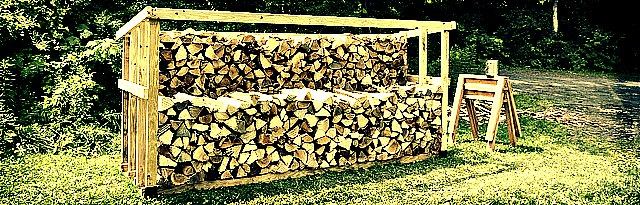 stack of firewood for long term storage