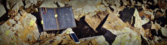 portable solar panel and phone